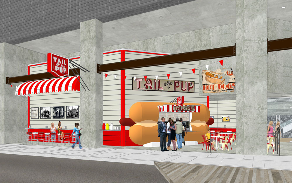 A rendering of the new Tail O'the Pup stand in The Bloc