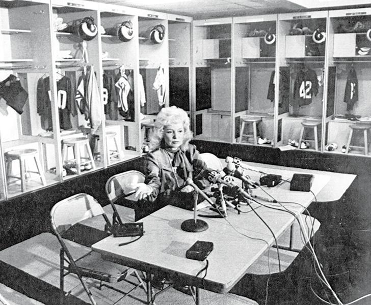 Rams owner Georgia Frontiere holds a news conference in the empty locker room during the 1982 NFL players' strike