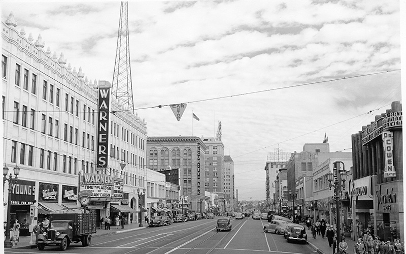 Looking east down Hollywood from Wilcox in 1946 complete with streetcar tracks and overheard power lines.
