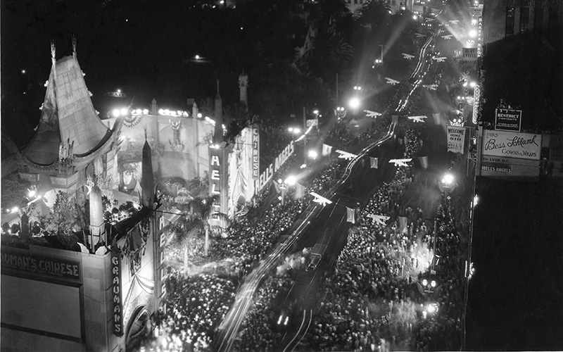 """The Otto K. Oleson Company, whose motto was """"Spectacular Illumination,"""" provided the lighting for the 1930 premiere of Hell's Angels at the Chinese Theater"""