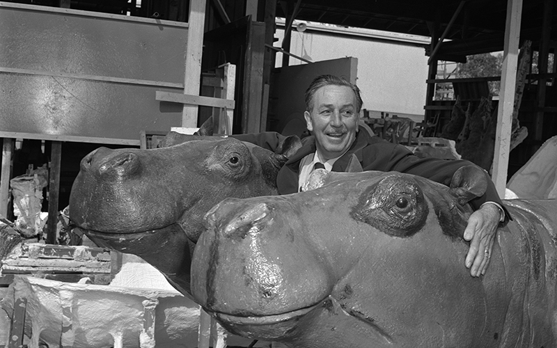 Walt and two hippos designed for the Jungle Cruise at Disneyland