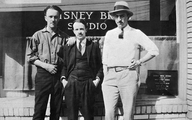 "Ub Iwerks, ""Ham"" Hamilton, and Walt Disney at the Kingswell studio, 1925"