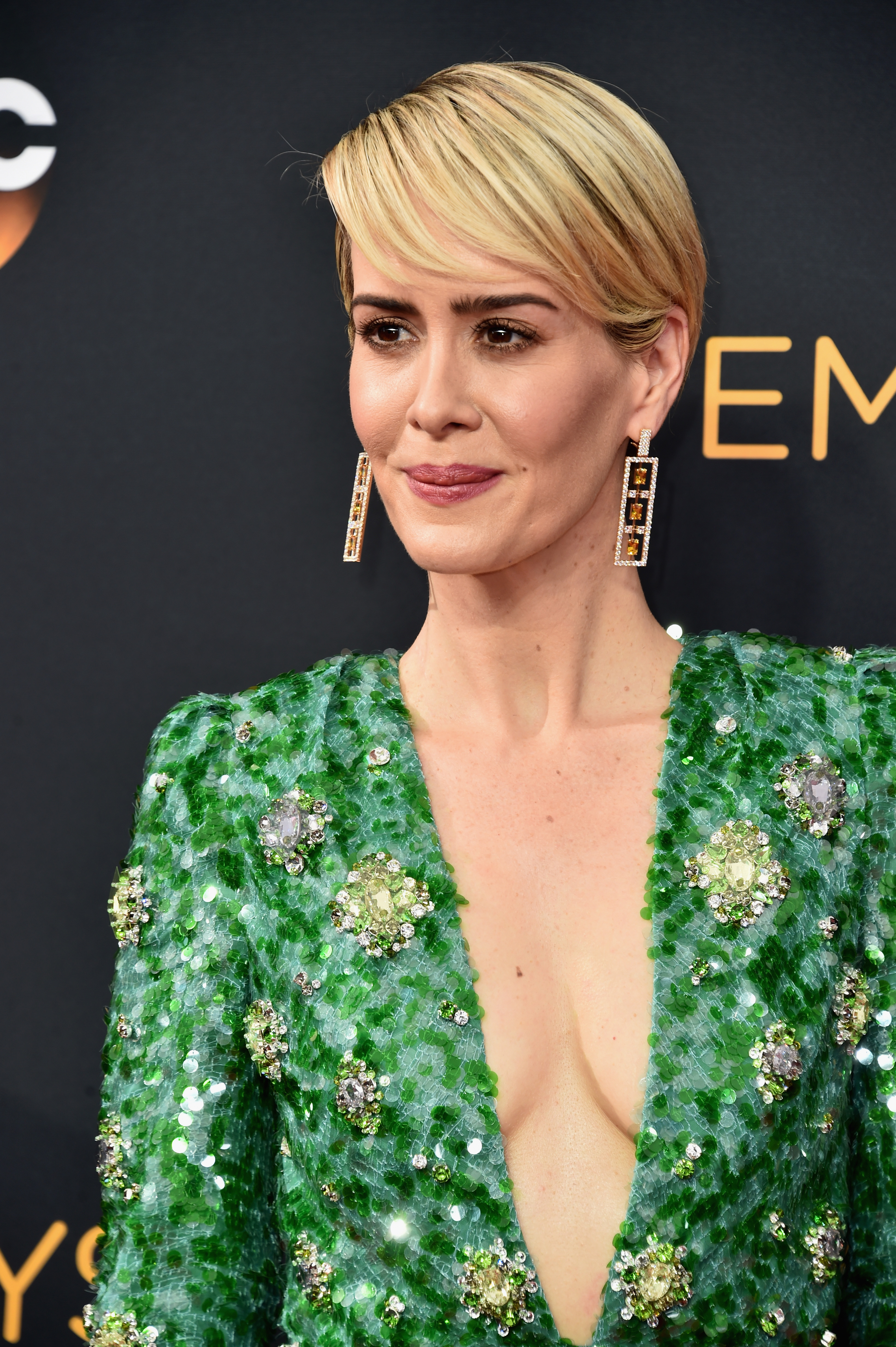 LOS ANGELES, CA - SEPTEMBER 18: Actress Sarah Paulson attends the 68th Annual Primetime Emmy Awards at Microsoft Theater on September 18, 2016 in Los Angeles, California. (Photo by Alberto E. Rodriguez/Getty Images)