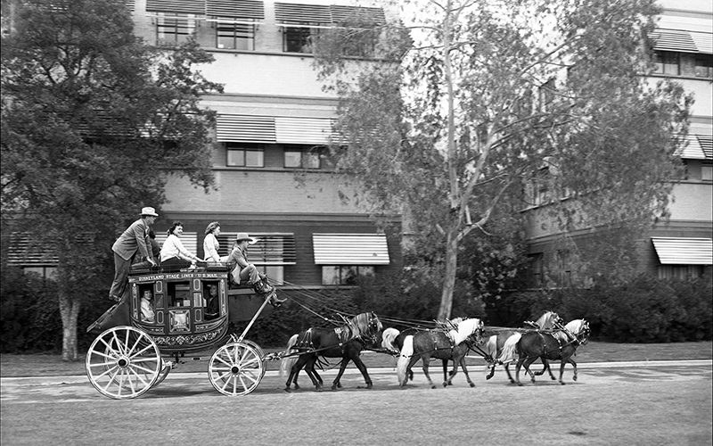 Testing the Disneyland stagecoach on the studio lot