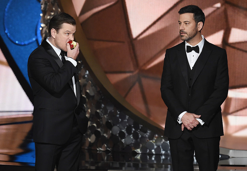 LOS ANGELES, CA - SEPTEMBER 18: Actor Matt Damon (L) and host Jimmy Kimmel speak onstage during the 68th Annual Primetime Emmy Awards at Microsoft Theater on September 18, 2016 in Los Angeles, California. (Photo by Kevin Winter/Getty Images)