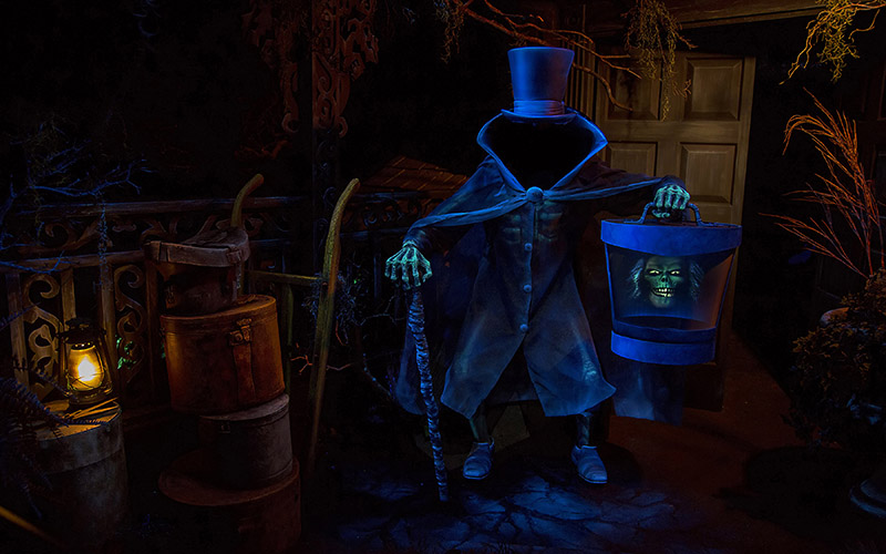 The Hatbox Ghost at the Haunted Mansion in Disneyland