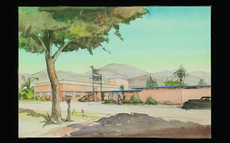 Kem Weber rendering for the Walt Disney studio in Burbank