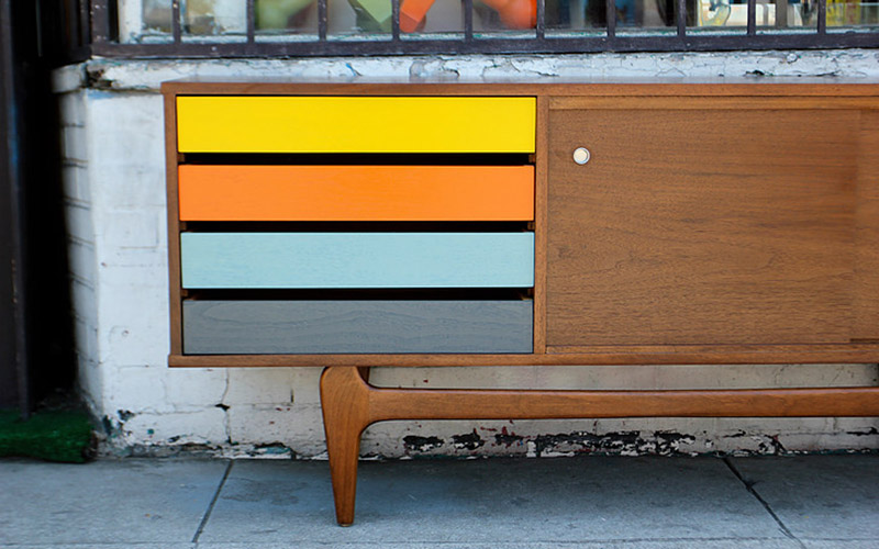 Affordable Mid Century Furniture In L A Multi Colored Drawer Credenza At West Coast Modern