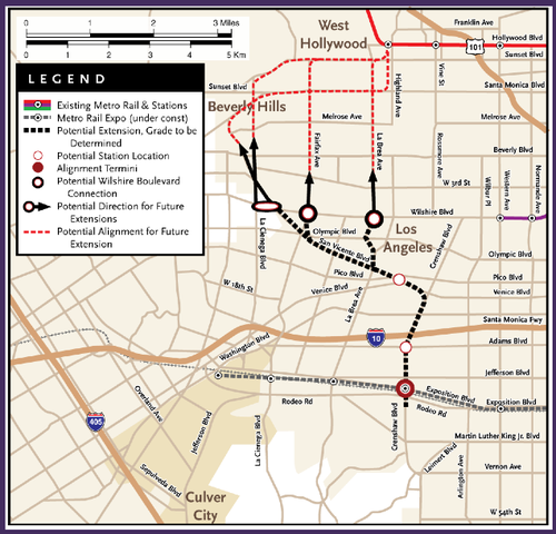 Three potential routes for the Crenshaw extension