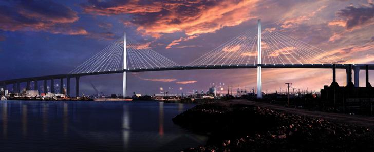 Rendering of unnamed replacement for Gerald Desmond Bridge