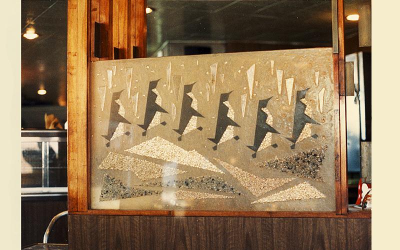 Original artwork inside the Penguin Coffee Shop, circa 1988