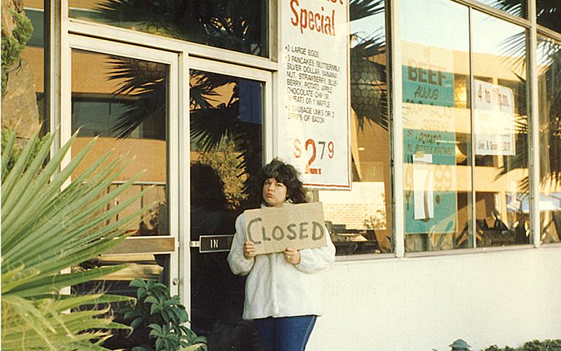 Historian Adriene Biondo at the Penguin Coffee Shop, 1988