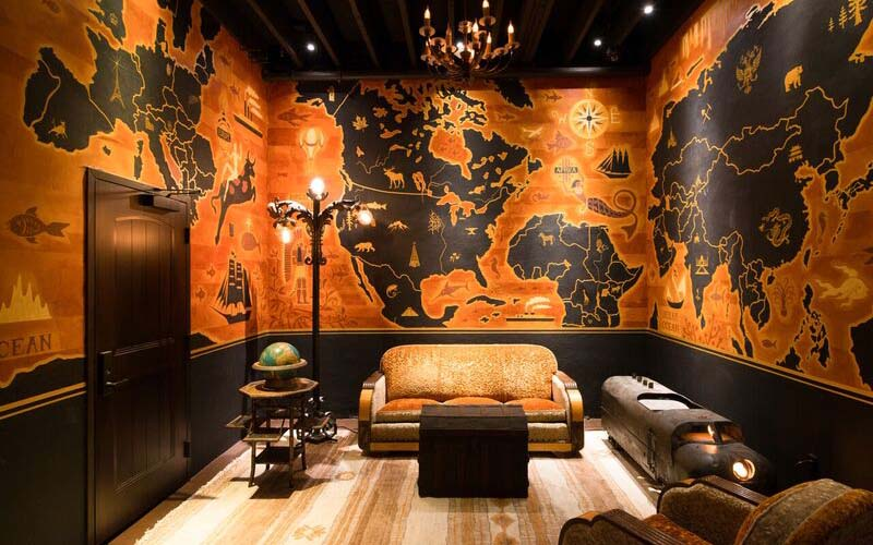 The map room at Clifton's Pacific Seas