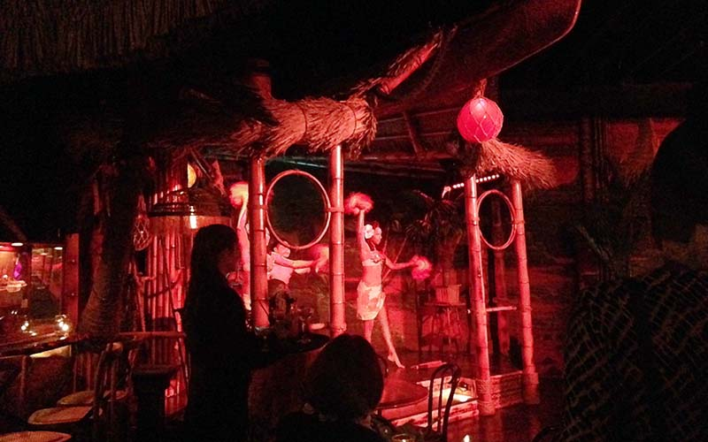 Hula dancers take to the bamboo stage at Clifton's Pacific Seas