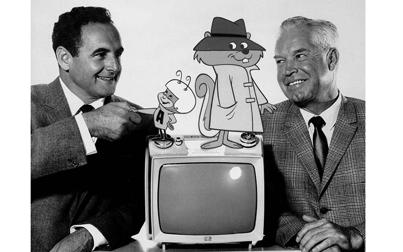 Joe Barbera and William Hanna with Atom Ant and Secret Squirrel, 1965