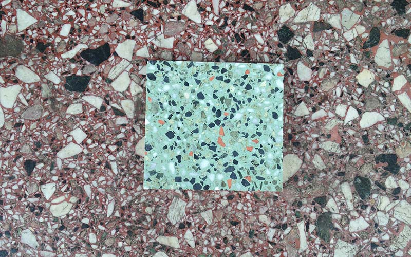 Trying out samples of terrazzo at the former Penguin coffee shop in Santa Monica