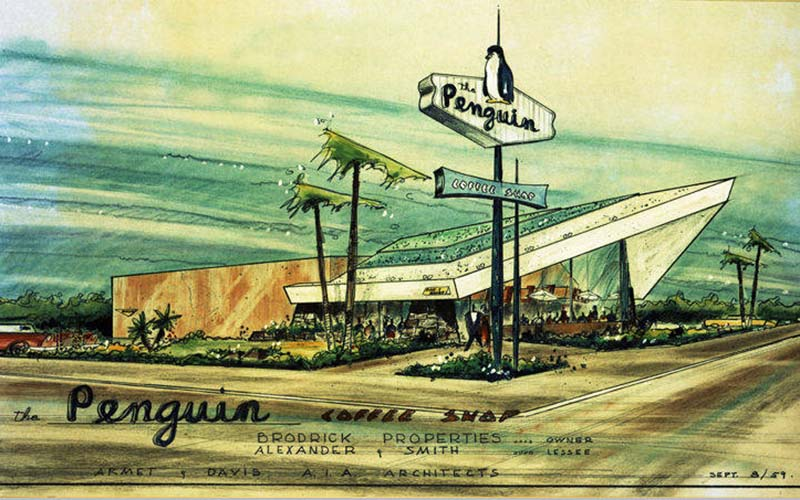 Original 1959 architectural rendering for the Penguin Coffee Shop in Santa Monica