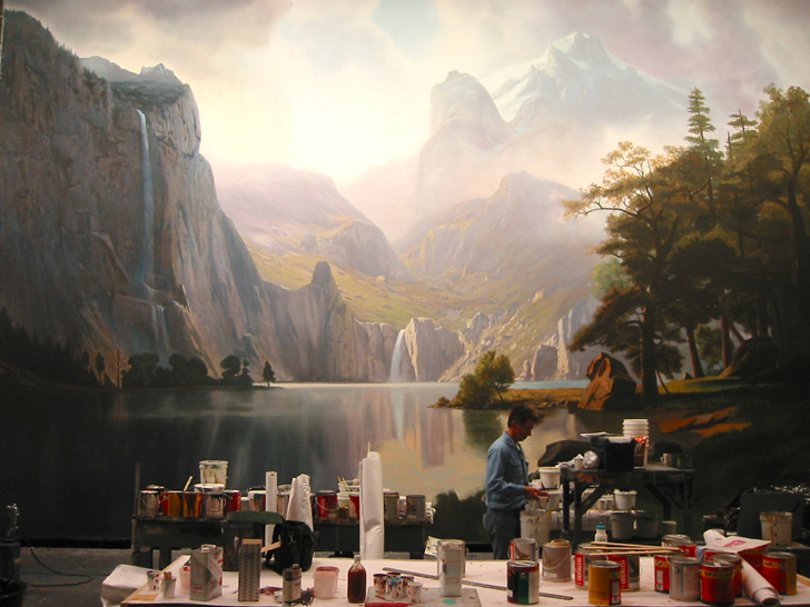 Scenic artist Don Hanson at work on a replica of an Albert Bierstadt landscape painting for 2003's 'The Last Samurai'