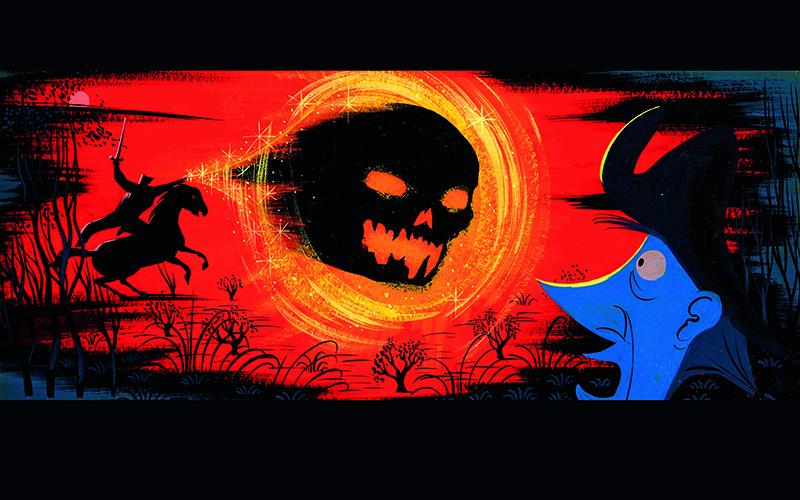 Preliminary art by Mary Blair of the Horseman hurling his blazing pumpkin head at the terrified Ichabod