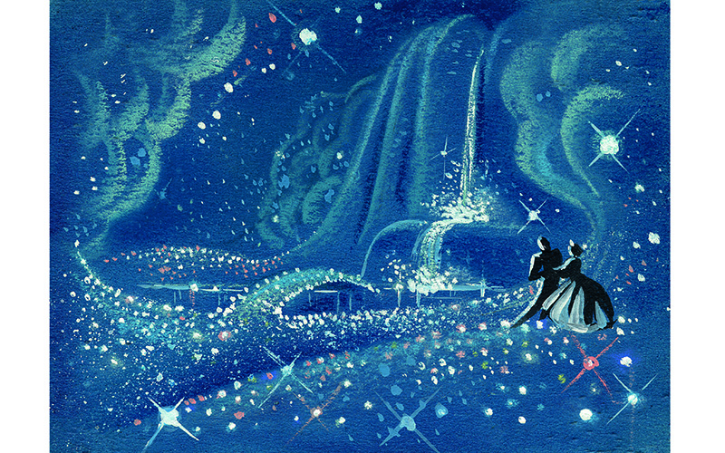 """After finding love within an enchanted garden, Cinderella and Prince Charming are soon dancing in the clouds in these Mary Blair explorations of the song sequence """"So This Is Love."""""""