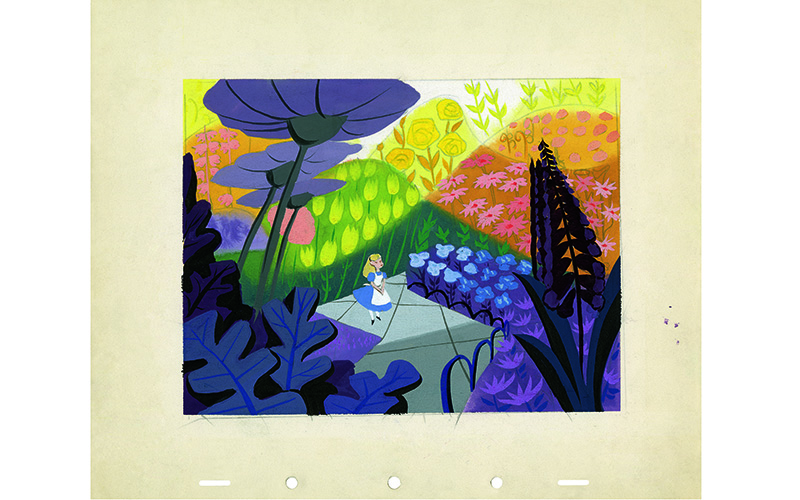 The Garden of Live Flowers, another episode from Through the Looking-Glass, allowed free rein to Mary Blair's dramatic color styling. Alice in Wonderland (1951):