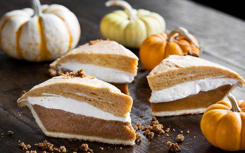 Three-layered pumpkin pie at Tuck Room Tavern