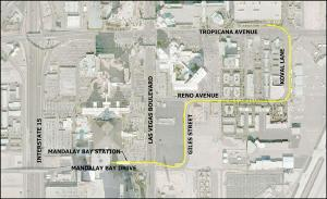 Route of the extension to Mandalay Bay