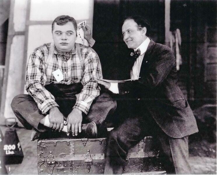 "Roscoe ""Fatty"" Arbuckle with Harry Houdini, 1919"