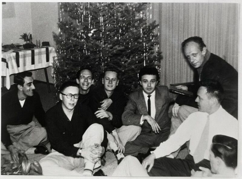 R to L: Mattachine Society Founders Harry Hay (Top), Dale Jennings (light tie), Rudi Gernreich, Stan Witt, Bob Hull, Chuck Rowland, and Paul Bernard