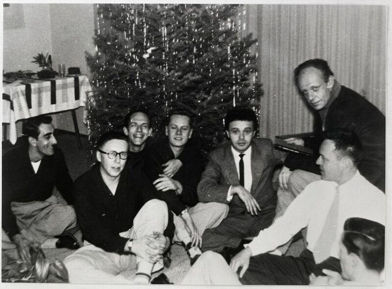 R to L: Mattachine Society Founders Harry Hay (Top), Dale Jennings (light tie), Rudi Gernreich, Stan Witt, Bob Hull, Chuck Rowland, and Paul Bernard