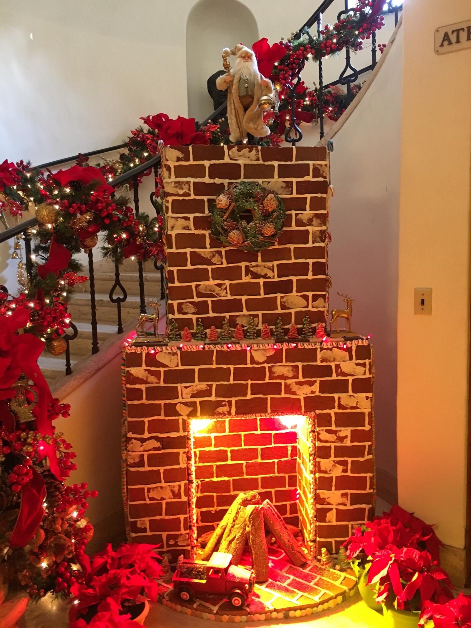Gingerbread fireplace at the Caltech Athenaeum