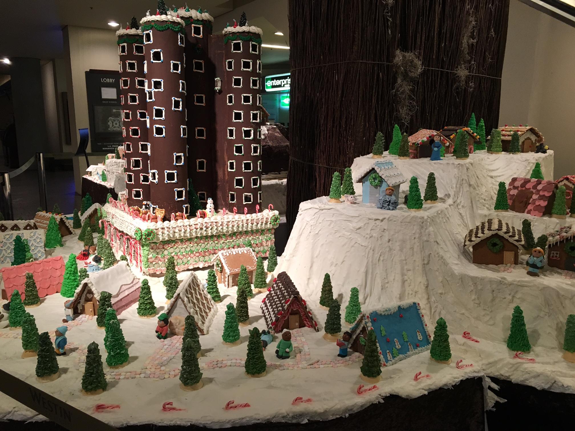 Gingerbread village at the Bonaventure Hotel