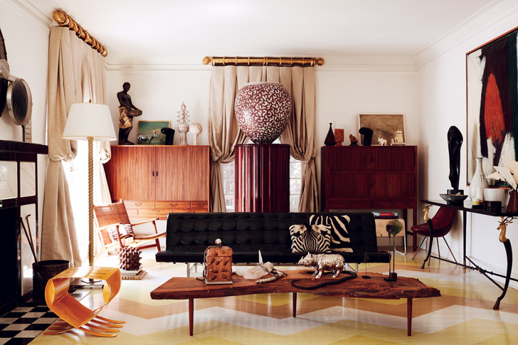 Chen got the idea for the painted-wood floor from Architectural Digest. It sets the stage for a George Nakashima table and a Laverne International sofa once used in the offices of Twin Towers architect Minoru Yamasaki