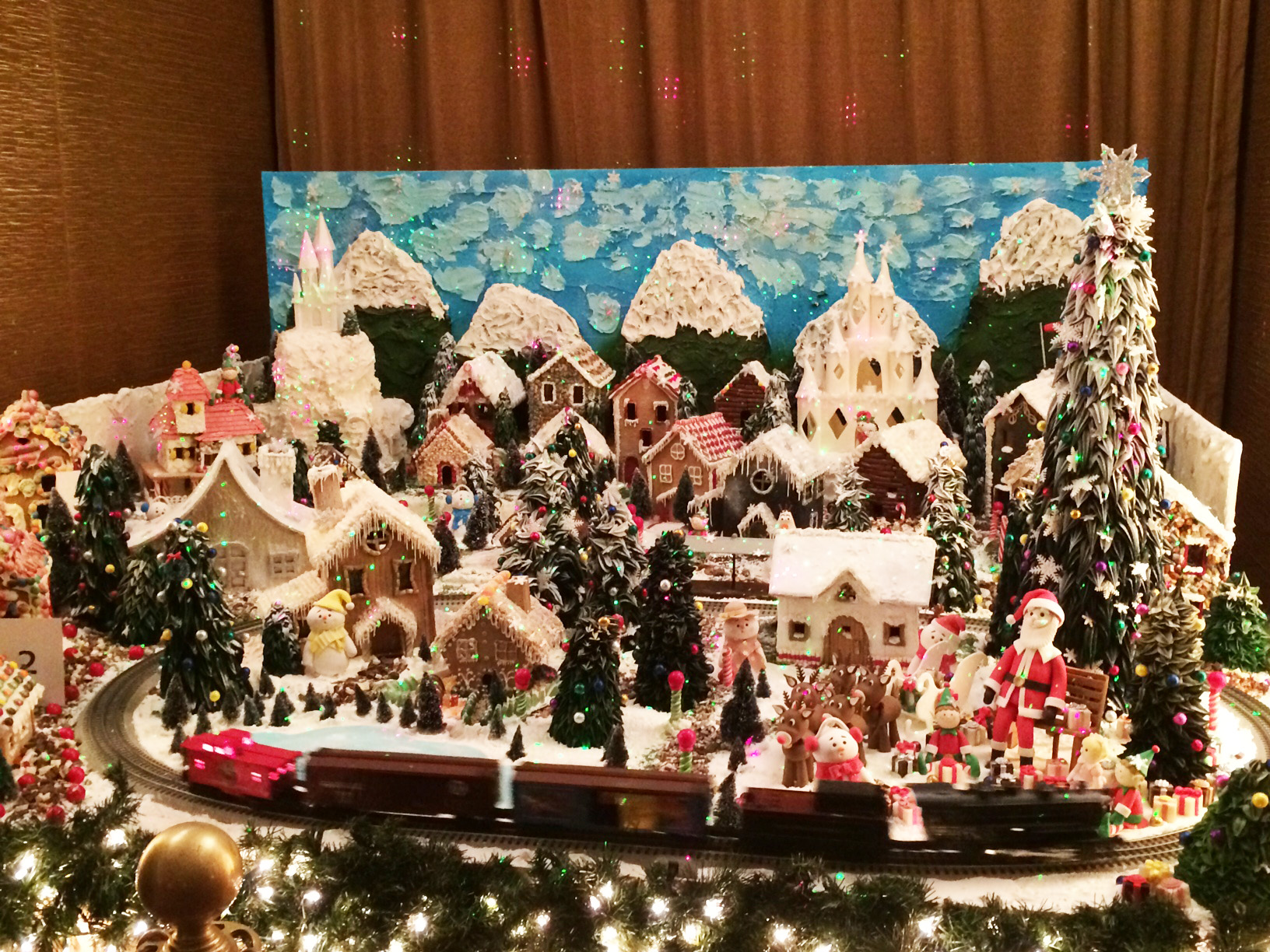 Gingerbread houses on display at the Langham Hotel in Pasadena