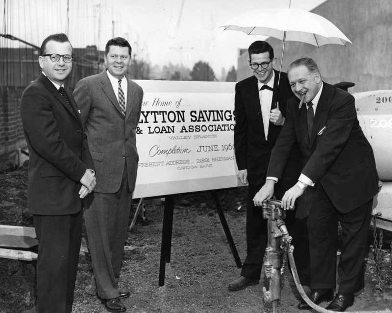 Breaking ground for the San Fernando Valley branch of Lytton Savings. (L to R) William Stage, manager, Supervisor Warren Dorn, Kurt Meyer, architect, and Bart Lytton, president