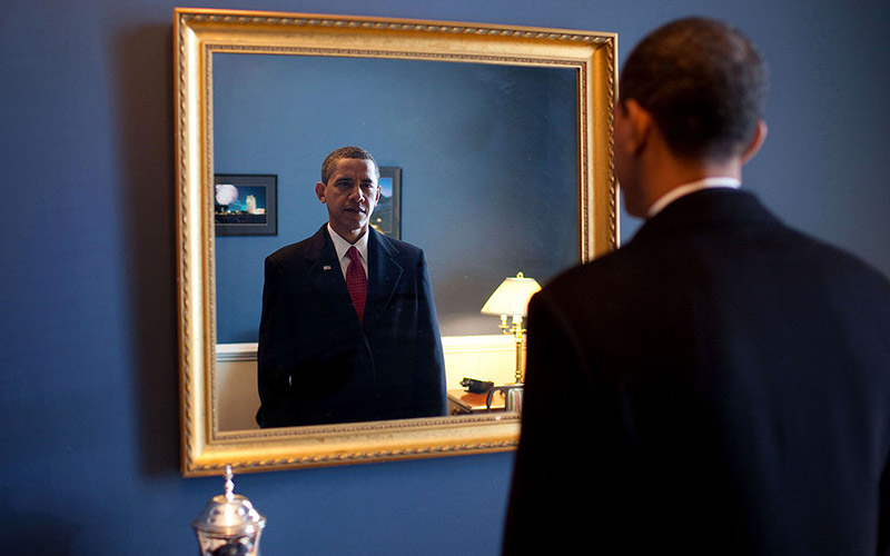 "Jan. 20, 2009 ""President-elect Barack Obama was about to walk out to take the oath of office. Backstage at the U.S. Capitol, he took one last look at his appearance in the mirror."""