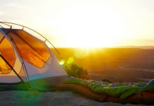 Camping tent at sunset from a camping gear rental in Los Angeles
