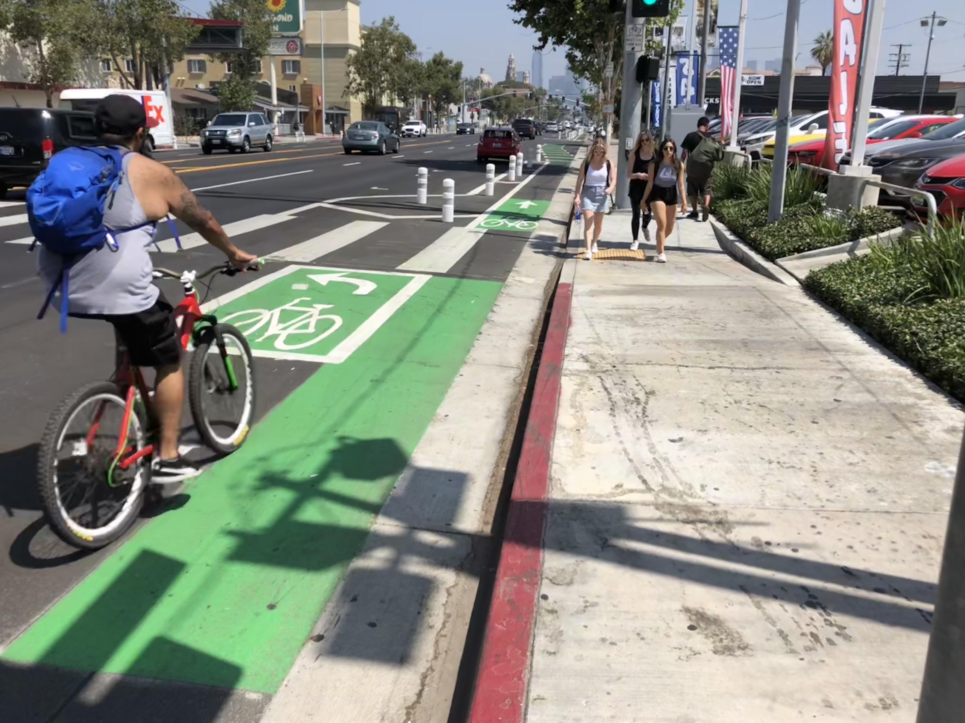 figueroa street bike lane new los angeles