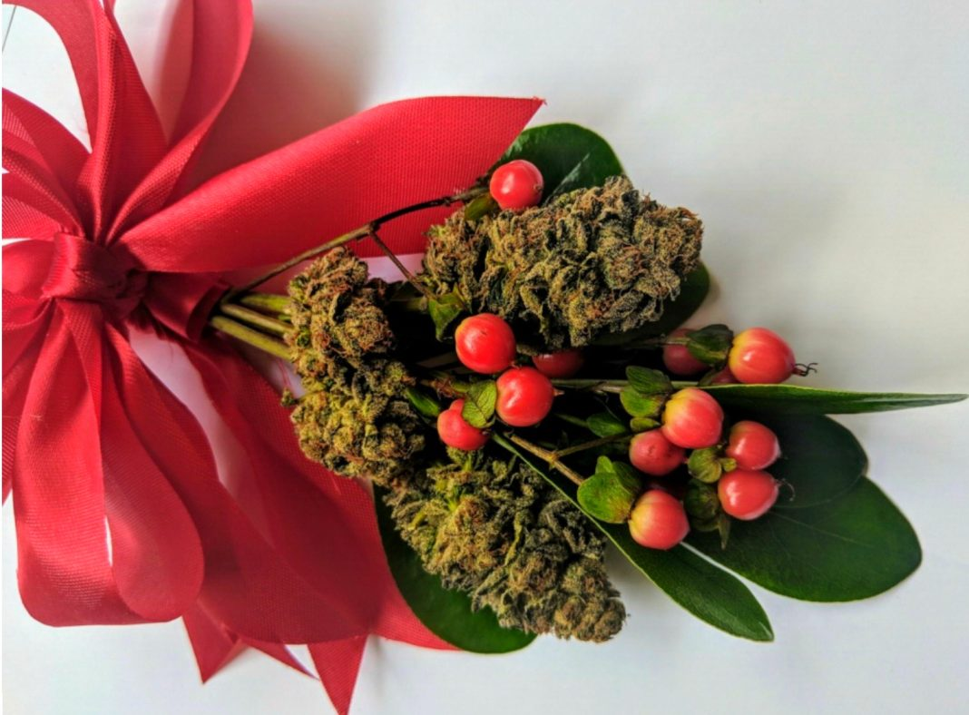 cannabis gifts holiday legal weed mistletoke