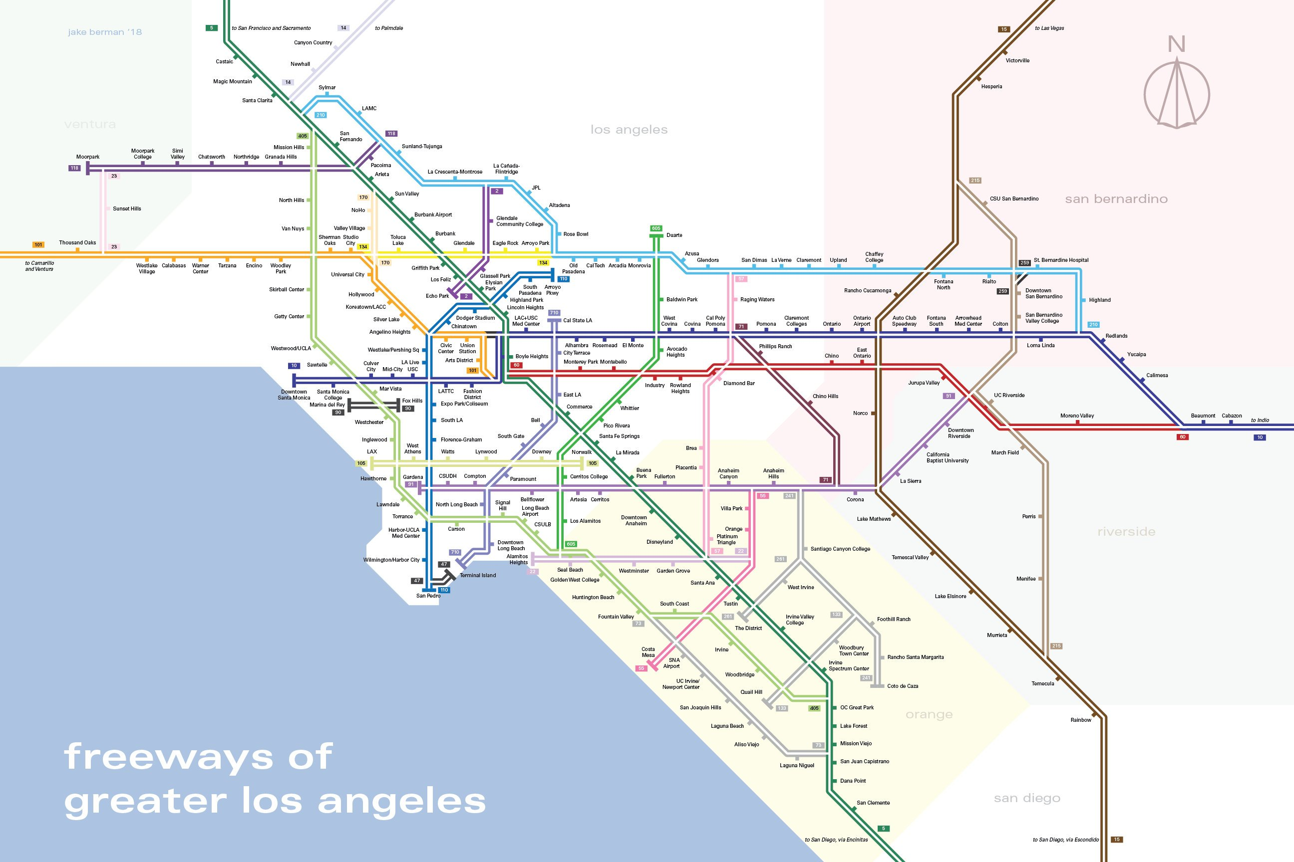 los angeles freeways map