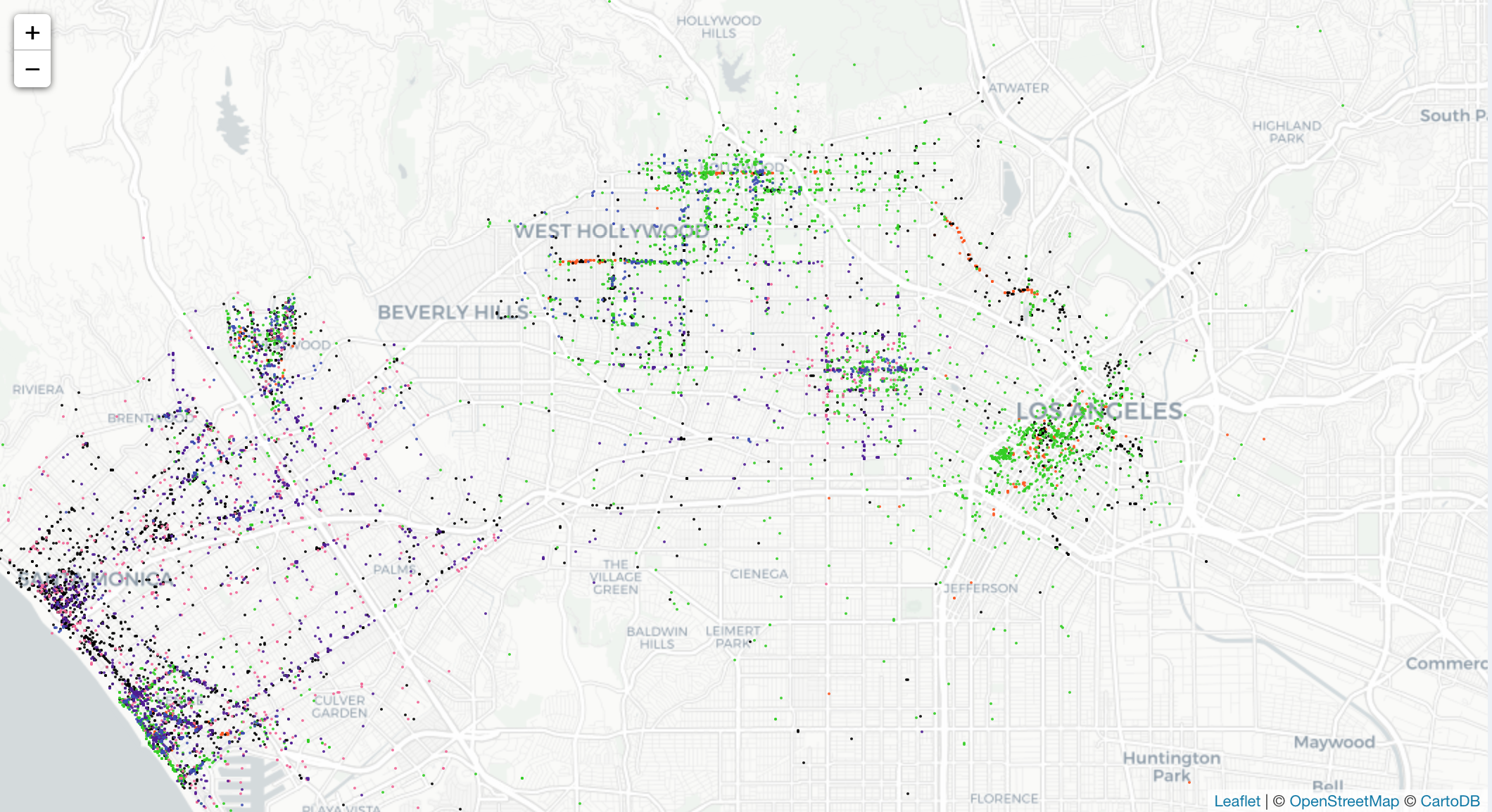 A Data Pro Made A Map That Tracks Where All The Scooters In L A Are Concentrated