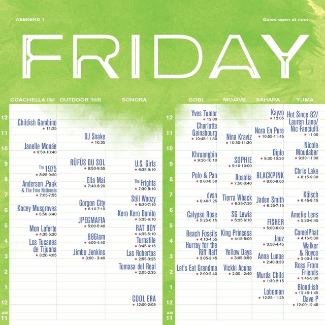 friday coachella set times 2019