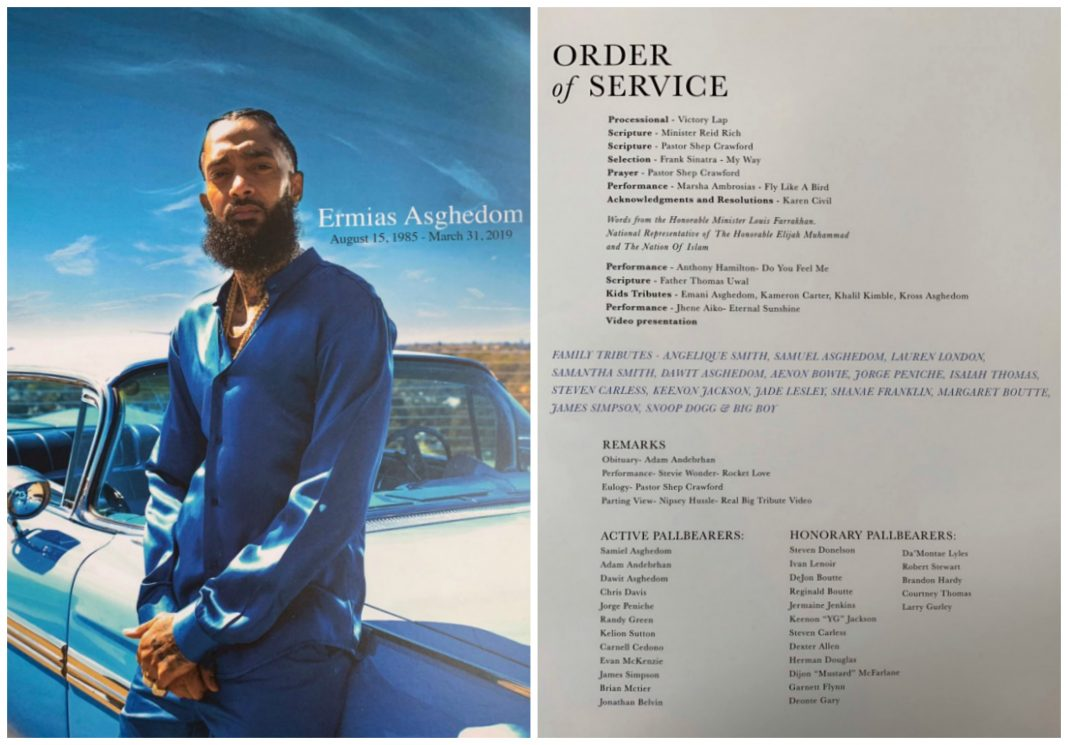 nipsey hussle funeral staples celebration of life program