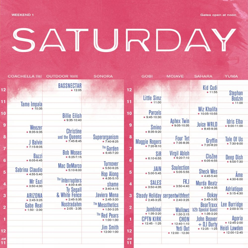 saturday coachella set times 2019