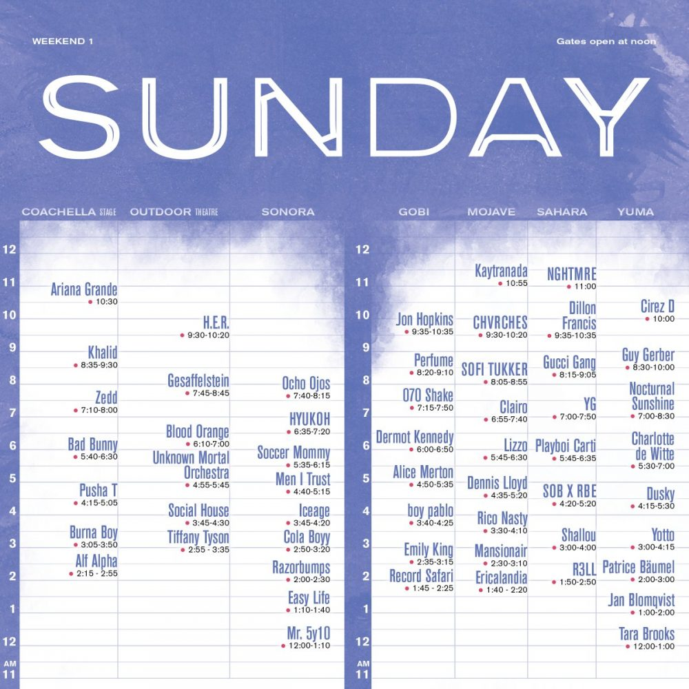 sunday coachella set times 2019