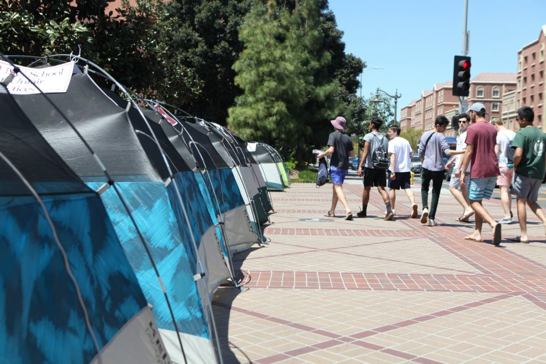 usc protest festival of books tents