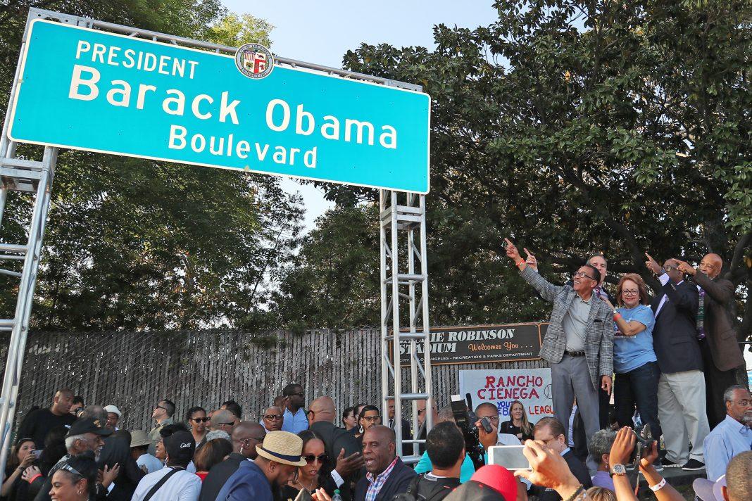 Obama Boulevard Unveiling Event Herb Wesson Eric Garcetti