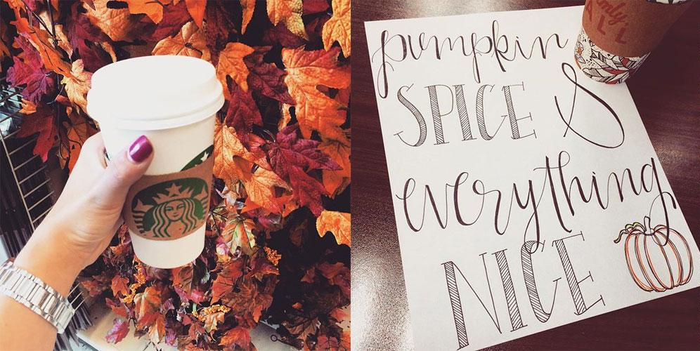 starbucks pumpkin spice latte leaf rakers society