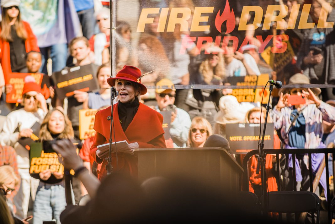 jane fonda fire drill friday protest la