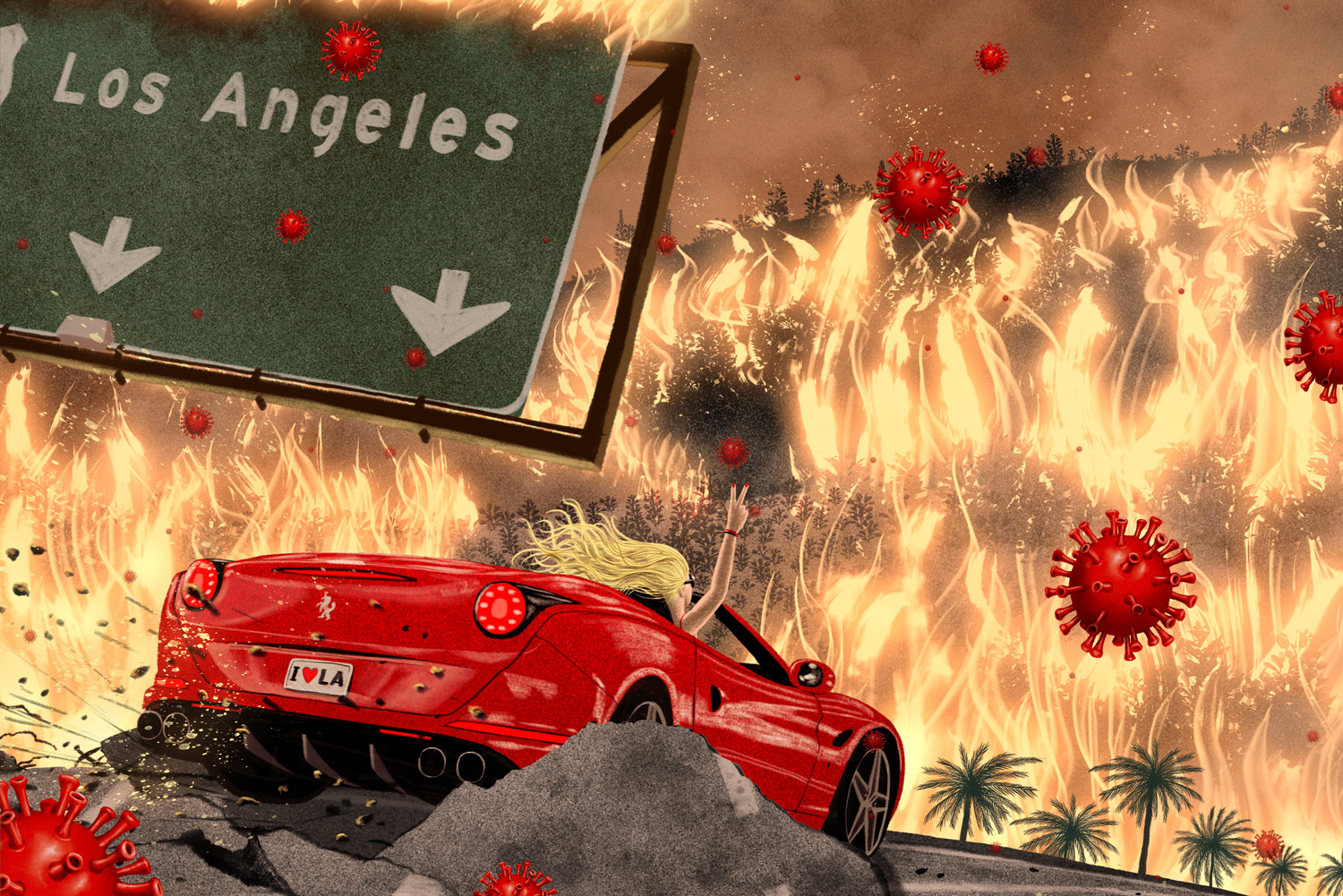 los angeles on fire